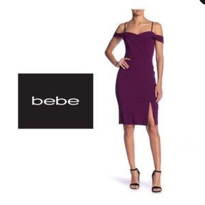 Bebe off-shoulder plum dress